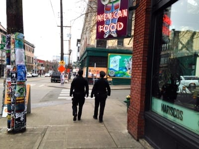 CHS found these officers on foot patrol last year in Pike/Pine. Will we see more in 2014? (Image: CHS)