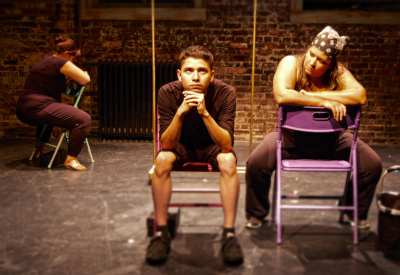 From a rehersal of q u e r e n c i a. From left to right, actors Pilar O'Connell, Matt Aguayo, and Anabel Hovig. (Image: Rebecca Tourino Collinsworth)