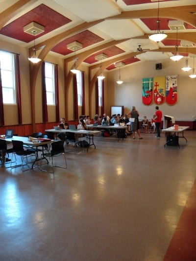 A September Yes on 594 phone banks at 11th Ave's Central Lutheran Church