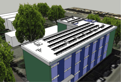 """Capitol Hill Project Details Single site project 25.92 kW Made-in Washington Itek modules & inverters A """"ballasted"""" system on the flat roof of the Holiday Apartments, located at 1001 E. John Street on Capitol Hill After system ownership passes to CHH, the electricity it generates will lower the operating costs for the Holiday Apartments and other CHH properties, directly benefitting low-income tenants."""