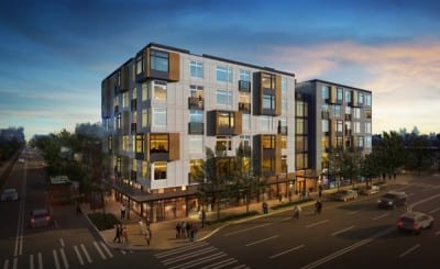 The new project on the northwest corner will join this Lake Union Partners apartment project on the southwest corner of 23rd and Union