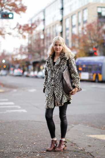 Abigail Vehorn Platinum hair braid leopard print coat seattle street style fashion it's my darlin'_2344