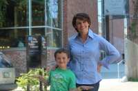 Holcomb and son Dashiell outside the Capitol Hill library (Image courtesy Alison Holcomb)
