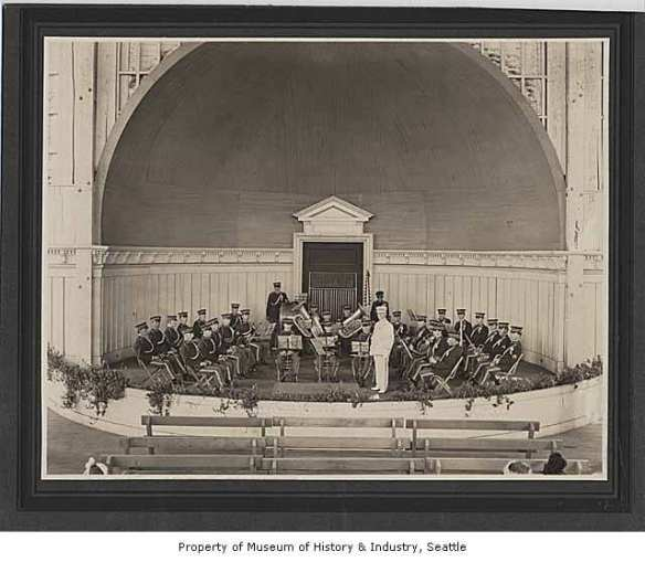 """Cavanaugh's City Band in Volunteer Park bandshell, Seattle, ca. 1905"" (Image: Museum of History & Industry Photograph Collection)"