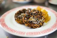 Pan fried kabocha squash doughnut with black sesame