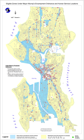 This map shows where in the city the encampments could be allowed. Amendments to be discussed next week could change some of the restrictions (Image: Seattle.gov)