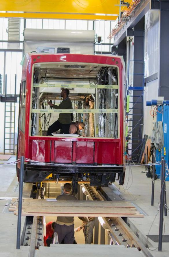 A First Hill Streetcar tram being assembled after arrival in Seattle  -- More pictures on City Council transportation committee chair Tom Rasmussen's Facebook page