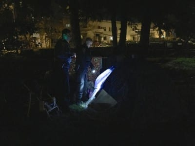 In February, CHS accompanied an SPD officer on a night of work around the East Precinct including a call to the 8th and Yesler camping area where, that night, officers searched tent to tent for a reported assault victim (Image: CHS)