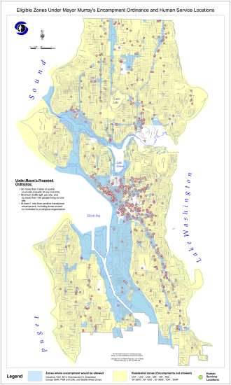 This map shows areas where the camps will be permitted --  an amendment to study expansion of the program also passed