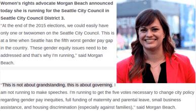 "Candidate Morgan Beach also decries ""grandstanding."""