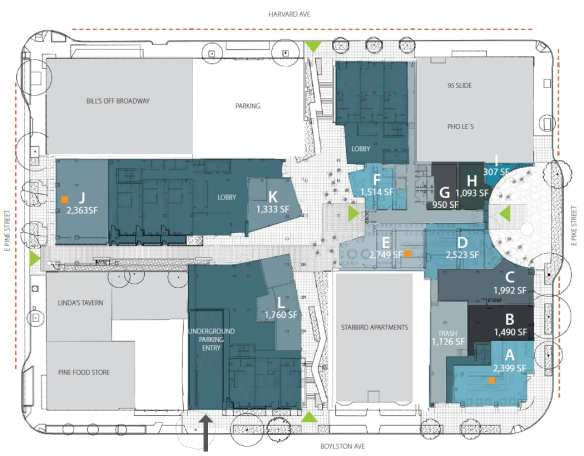 Interesting neighbors: the layout for the ground floor of Pike Motorworks