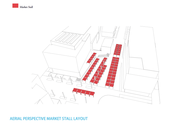 Framework for the plaza that could be home to the Broadway Farmers Market (Image: Gerding Edlen)