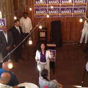 Pamela Banks speaking inside Sole Repair (Images: CHS)