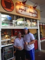 Seahawk Kristjan Sokoli -- the first Albanian-born player to ever make the National Football League - visited B&B in Bellevue (Image: Byrek and Baguette)