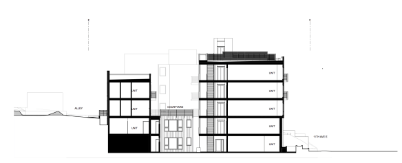 Neighbors asked for the building to be reduced to three stories -- this slice shows the compromise