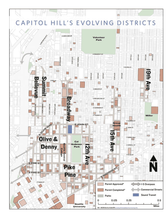 The plan identifies seven districts across the Hill (Image: Capitol Hill 2020)