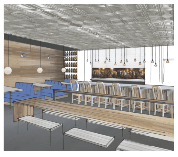 A design sketch for the new burger joint