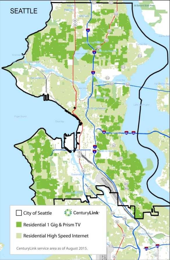 Seattle 1 Gig map