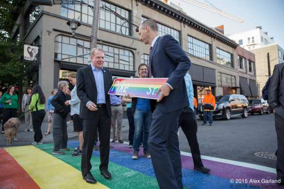 Don't get excited. The rainbow street sign was just a prop (Image: CHS)