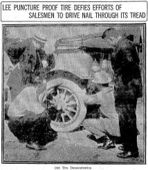 Sales A.M. Peterson demonstrating puncture proof tire. June 21, 1914. Image: Seattle Times.