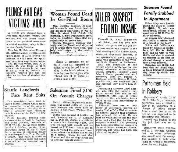 Collage of reported incidents from 1943 to 1967