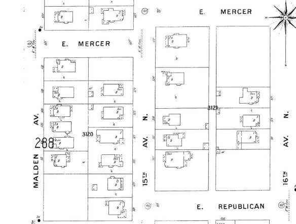 15th Ave E from Republican to Mercer, from the 1904 Sanborn fire insurance map.