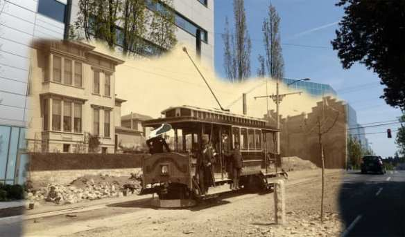 A hybrid cable and electric powered streetcar in 1890 on James Street. These were used on Broadway to Lynn Street.