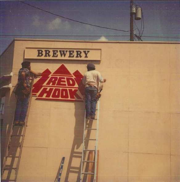 Putting up the Redhook sign in Fremont in 1982.