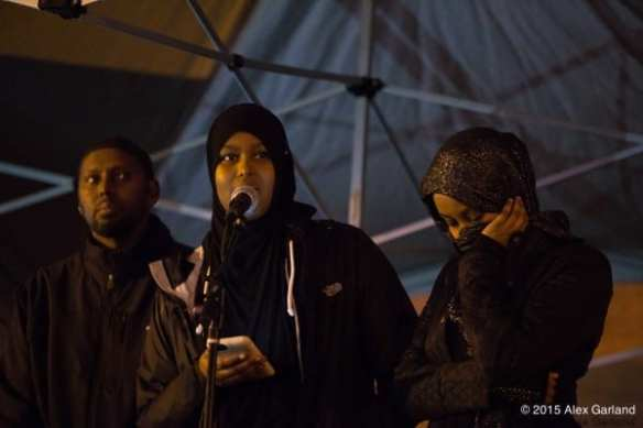 Hamza Warsame's sister Ikram at a rally calling for justice in the investigation of the 16-year-old's death (Image: CHS)