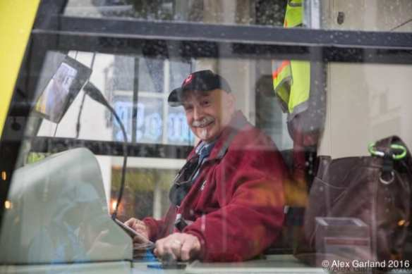 Driver Tom did the honors Saturday for the first departure from Broadway and Denny