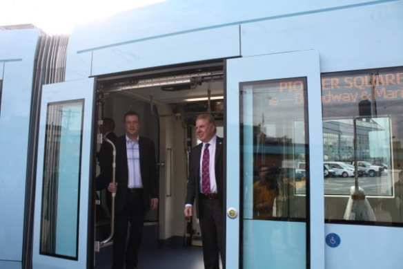 McDermott test riding the First Hill Street car with Mayor Ed Murray. (Image: CHS)