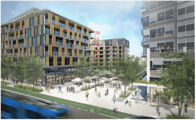 Artist's depiction of the housing planned around Capitol Hill Station