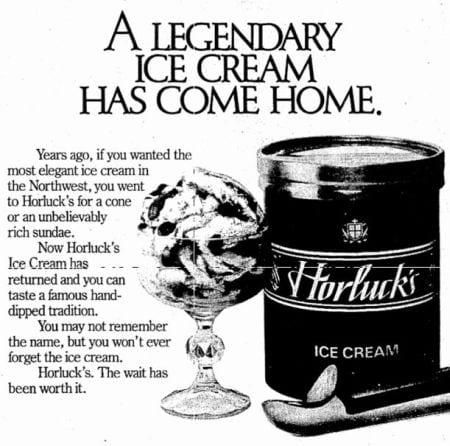 Horlucks ice cream ad, December 5, 1984 Seattle Times