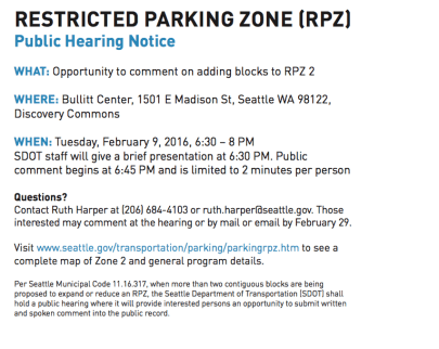 How a proposal to extend a Restricted Parking Zone near E Madison ...
