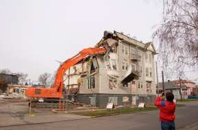 Eric, a fellow demolition enthusiast, captures the action