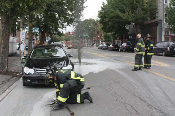 Not everything went smoothly along the way -- in October 2011, this grey geyser burst from the pavement on E Pike