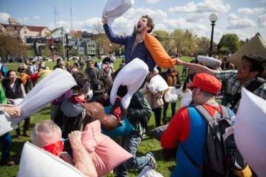 Images from International Pillow Fight Day 2015 in Cal Anderson (Images: CHS)