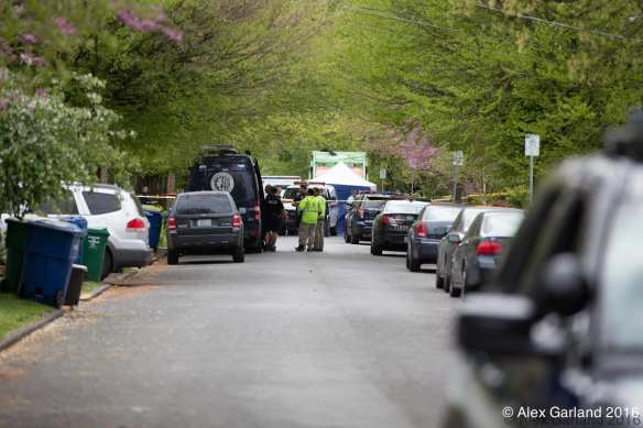 Police closed off 20th Ave and canvassed the area for more remains. (Image: Alex Garland for CHS)
