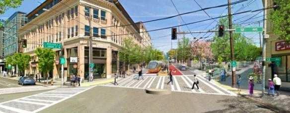 The center running BRT lane along E Madison. (Image: SDOT)