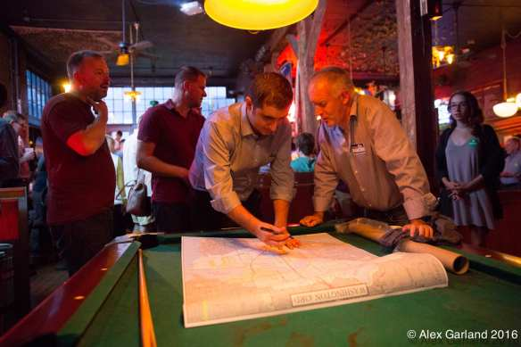 Walkinshaw mapping out his results on Election Night earlier this week at the Comet (Image: CHS)