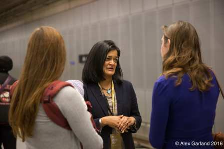 Jayapal earlier this year at the opening of Capitol Hill Station (Image: CHS)