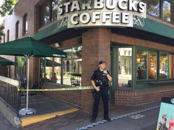 Officers arrested the suspect inside the Broadway and Republican Starbucks. (Image: Ernie Lou)
