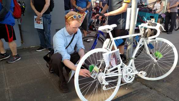 McCloud's friends and family held a memorial service around her ghost bike. (Image: CHS)