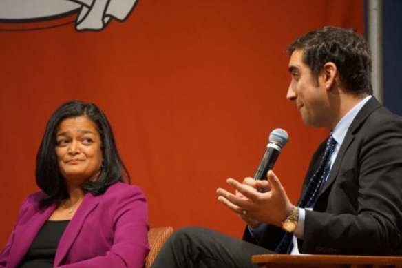 "Jayapal didn't hide her skepticism during Walkinshaw's explanation of going ""contrast"" Monday night (Images: CHS)"