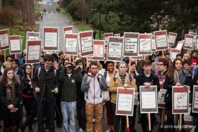 Students and faculty rallied on campus in support of a union in 2015. (Image: CHS)