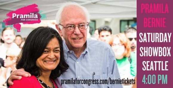 Bernie Sanders was in town Saturday to raise bucks for Jayapal