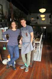 Bar manager Veronika Groth joins David Nichols at Ernest Loves Agnes. The stripes weren't planned.