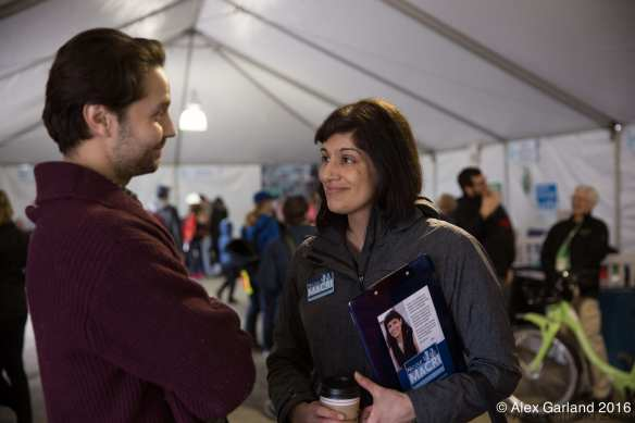 The big tent -- Macri talks with Capitol Hill Community Council's Zachary DeWolf (Image: CHS)