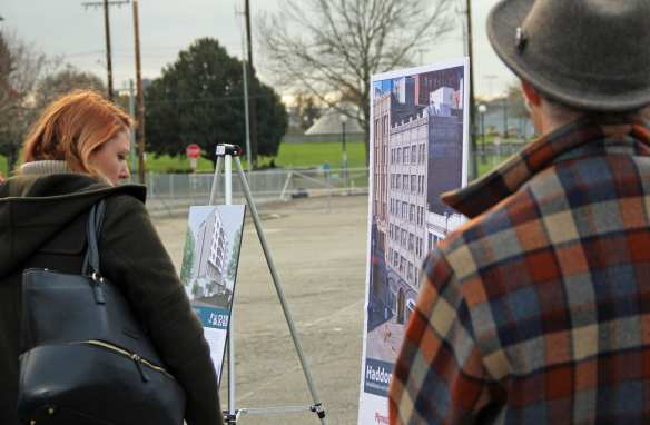 Display boards about different affordable housing projects were set up at the press conference.