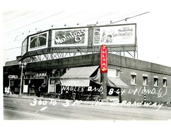 300 Broadway East in 1937 with Julia's sign